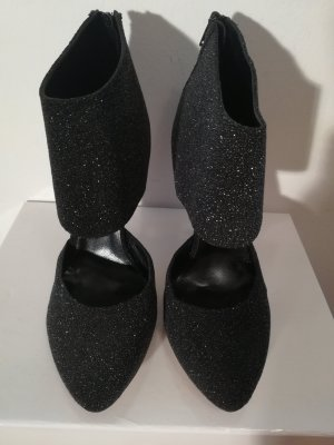 Cut Out Booties black textile fiber