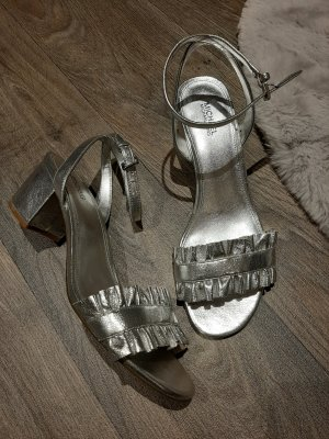 Michael Kors Strapped High-Heeled Sandals silver-colored-light grey