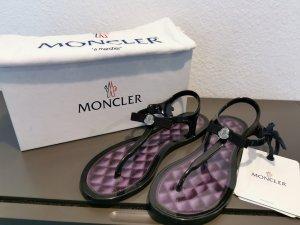 Moncler T-Strap Sandals black-dark violet