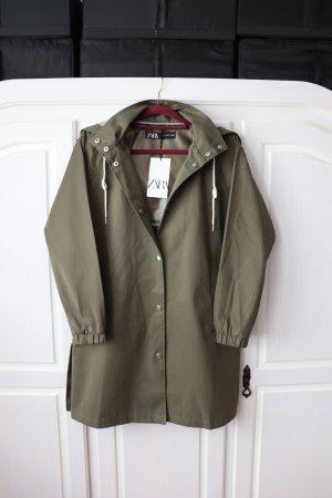Neue oliv Khaki farbende Jacke Parka Regenjacke von Zara Größe XS S