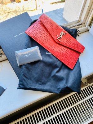 Yves Saint Laurent Pochette rouge foncé cuir