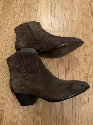 Ash Italia Zipper Booties dark brown