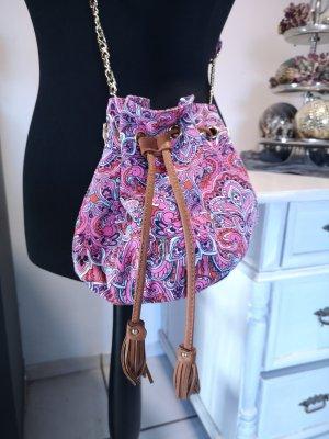 Neue Original Juicy Couture Crossbody Handtasche Beutel Paisleymuster pink rosa türkis Leder