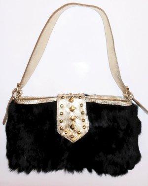 Neue Partytasche/Abendtasche,  mit goldenen Nieten und Lederbesätzen
