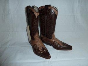 Boots western brun-brun noir cuir