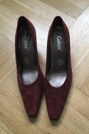 Gabor Zapatos de tacón con barra en T negro-burdeos
