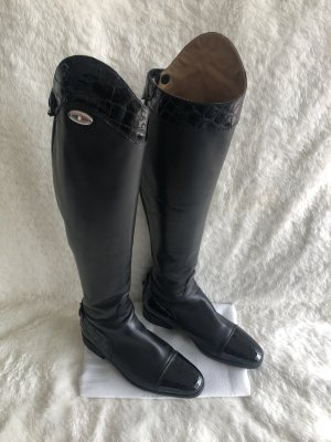 Italian Shoes Riding Boots black leather