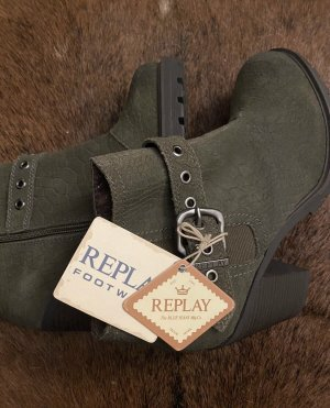 Replay Ankle Boots khaki leather