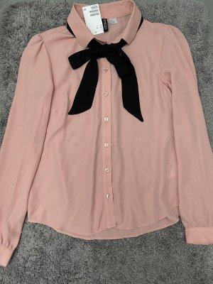 Neue Rosa Langarm Bluse mit Schleife zum Binden