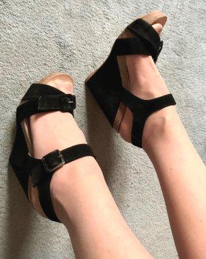 Logan Platform High-Heeled Sandal black-sand brown leather