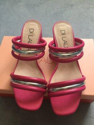 di Lauro Sandalo con cinturino e tacco alto rosa-argento Pelle