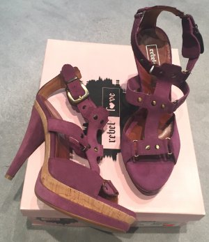 Neue Schuhe, Gr. 38, Leder, mauvefarben, HIghheels, Sandaletten, Plateau