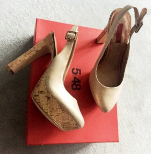 Neue Schuhe, Gr. 39, goldfarben, Leder, Highheels, Slingbacks, Plateau
