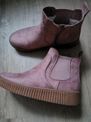 100% Fashion Buty zimowe w kolorze różowego złota-stary róż