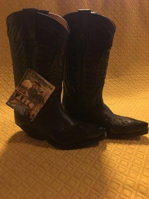 Buty w stylu western czarny Skóra