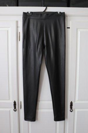 Fishbone Pantalon en cuir noir
