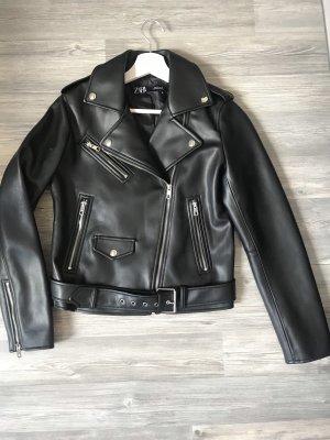 Neue, schwarze Lederjacke von ZARA M 38