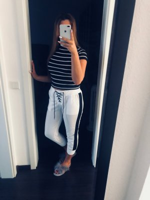 Pantalone fitness bianco-nero