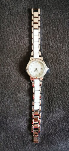 Neue Sekonda Armbanduhr Damenuhr Uhr weiß Silber Strass