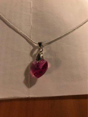 Neue Silberkette  mit  Swarowski  Herz  Anhänger  / Geburtsstein : Juli   / Herzfarbe : Pink