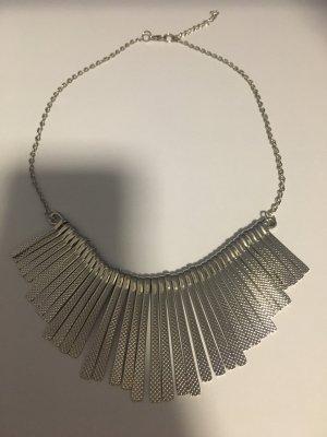 Neue silberne Halskette Kette Statement Fransen Modeschmuck