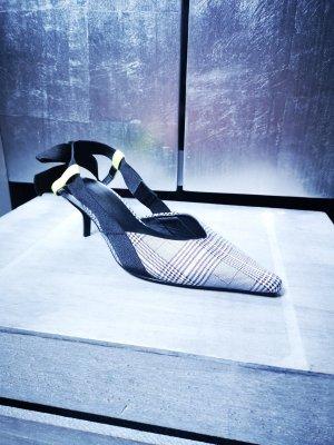Neue Slingbacks von Zara Gr 36 kariert schwarz weiß Sandalen Sandaletten Pumps neu extravagant Slingback