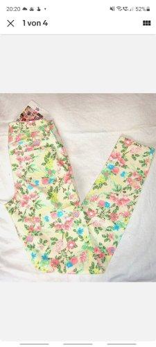 AJC Pantalone a vita alta bianco-giallo