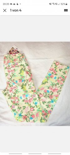 AJC Pantalon taille haute blanc-jaune