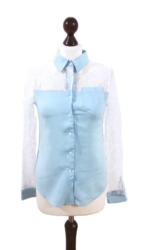 Neue Spitzenbluse/ Hemd Zara Z&I blau weiß chick edel