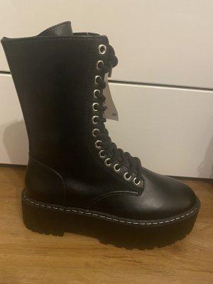 H&M Platform Boots black-silver-colored