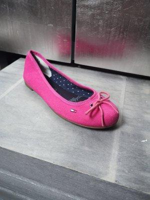 Neue TOMMY HILFIGER Ballerinas Gr 37 pink Stoff Stoffschuhe