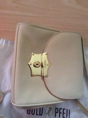 Neue Trendfarbe 2021 Hellgelb/Creme süße Abendtasche Goldpfeil
