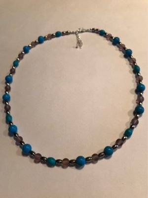 Pearl Necklace silver-colored-turquoise