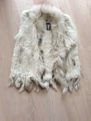 Smanicato di pelliccia bianco sporco-talpa