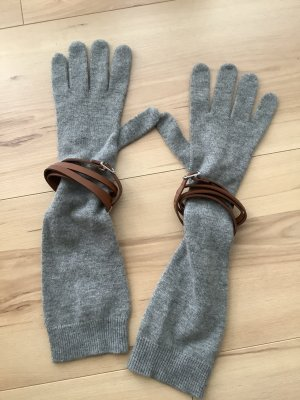 Ralph Lauren Knitted Gloves silver-colored-bronze-colored wool