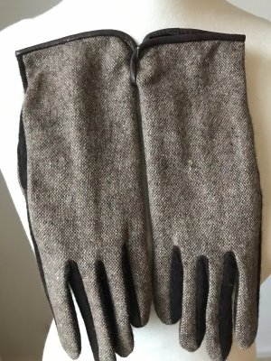 Knitted Gloves dark brown-beige