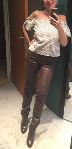 Neue, ungetragene Lederhose, braun, Gr. 36 - Materialmix, echtes Leder