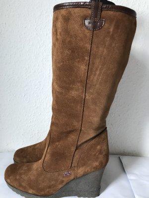 Mexx Platform Boots cognac-coloured-brown leather