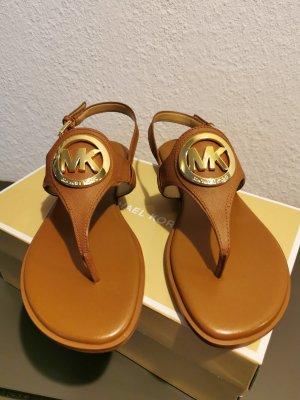 Michael Kors Sandalo con tacco alto e lacci a T oro-marrone