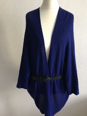 Knitted Wrap Cardigan dark blue