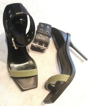 Neue Versus Versace Sandaletten mit großer Schnalle, Gr. 39, schwarz-Khakigrün