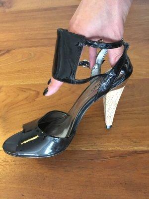 Neue VIA UNO Pumps High Heels schwarz Lack * 39