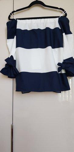 Neue weiß - blaue Carmen Bluse