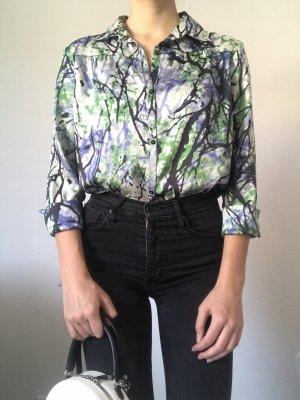 Neue, weiße, blaue, schwarze Bluse von Benetton L 40