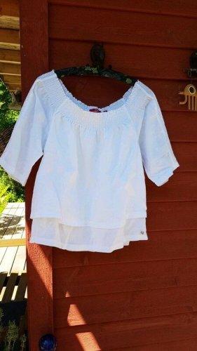 neue weiße Leinen Tunika s.Oliver - Größe 38 M - 100% Leinen Carmenausschnitt Bluse