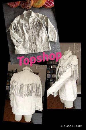 Neue weiße Topshop Lederjacke mit Fransen Vintage S
