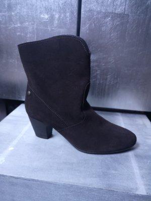 Neue Wildleder Stiefeletten von Mexx in tollem Braunton Gr 37 - neu - Stiefelette Echtleder Leder Stiefel mit Absatz dunkelbraun
