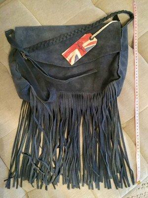 Pepe Jeans Tas met franjes donkerblauw Suede
