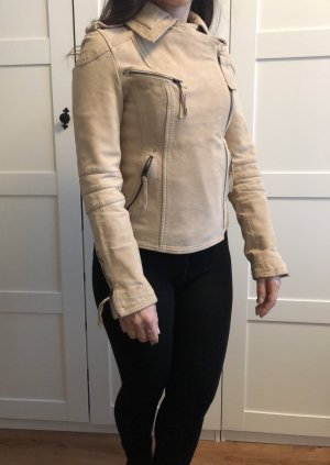Neue Wrangler taillierte beige Lederjacke