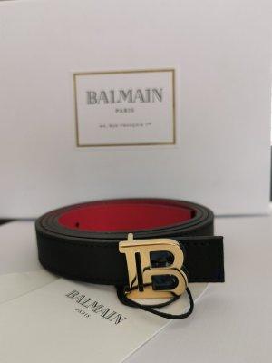 Balmain Leather Belt black-brick red